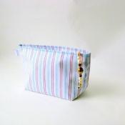 Striped Zipper Make Up Pouch