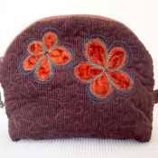 Quilted Make Up Pouch With Flowers